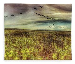 Red Hot Airballoon And Birds Fleece Blanket