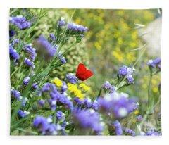 Red In Blue Field Fleece Blanket