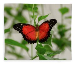 Red Lacewing Butterfly Fleece Blanket