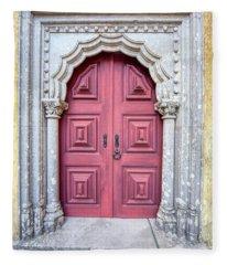 Red Medieval Door Fleece Blanket