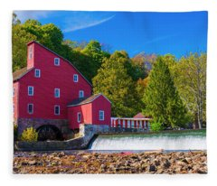 Red Mill Photograph Fleece Blanket