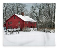 Red New England Colonial In Winter Fleece Blanket