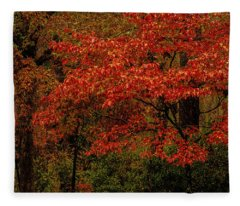 Red Oaks And Dogwoods Fleece Blanket