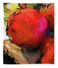 Red Pomegranate In The Yellow Light Fleece Blanket