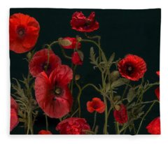 Red Poppies On Black Fleece Blanket