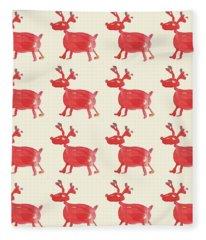 Red Reindeer Pattern Fleece Blanket