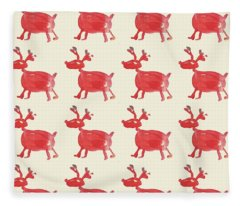Red Reindeer Pattern Fleece Blanket