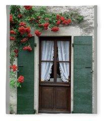 Red Rose Door Fleece Blanket