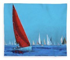 Red Sail At The Regatta Fleece Blanket