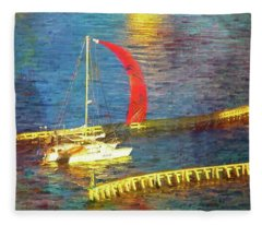 Red Sail Flying Fleece Blanket
