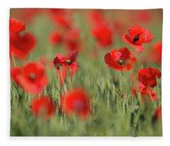 Red Splashes Of Wild Poppies 1 Fleece Blanket