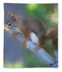 Red Squirrel Portrait. Fleece Blanket