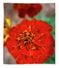 Red Summer Flowers Fleece Blanket