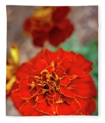 Red Summer Flowers Fleece Blanket