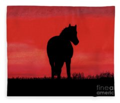 Red Sunset Horse Fleece Blanket