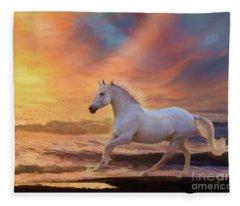 Fleece Blanket featuring the digital art Red Sunset by Melinda Hughes-Berland