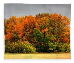 Red Trees Fleece Blanket
