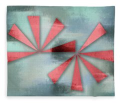Red Triangles On Blue Grey Backdrop Fleece Blanket