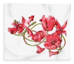 Red Tulips Vignette Fleece Blanket