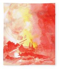 Red Village Abstract 1 Fleece Blanket