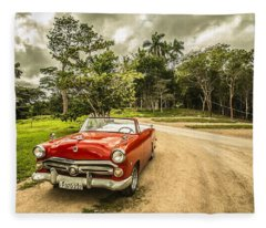 Red Vintage Car Fleece Blanket