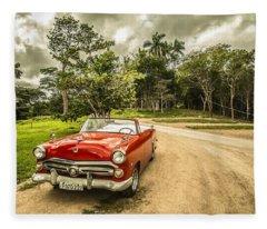 Red Vintage Car Fleece Blanket