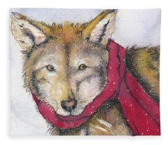 Red Wolf And Scarf Fleece Blanket