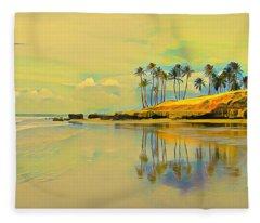 Reflection Of Coastal Palm Trees Fleece Blanket