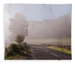 Refreshing Morning Fog In Trossachs. Scotland Fleece Blanket