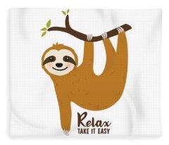 Relax Take It Easy - Baby Room Nursery Art Poster Print Fleece Blanket