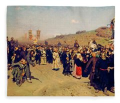 Religious Procession In Kursk Governorate Fleece Blanket