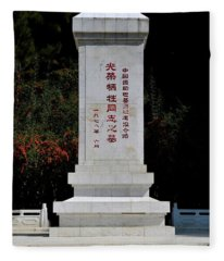 Remembrance Monument With Chinese Writing At China Cemetery Gilgit Pakistan Fleece Blanket