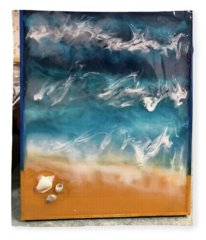 resin-Waves-2a Fleece Blanket