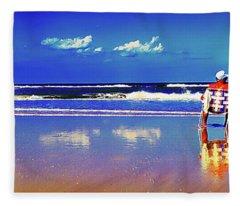 Retieiees Lawn Chairs On The Beach Surf  Fleece Blanket