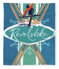 Revelstoke Ski Poster Fleece Blanket