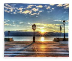Revere Beach Clock At Sunrise Angled Long Shadow Revere Ma Fleece Blanket