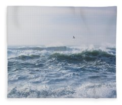 Reynisfjara Seagull Over Crashing Waves Fleece Blanket