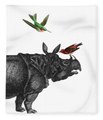 Rhinoceros With Birds Art Print Fleece Blanket