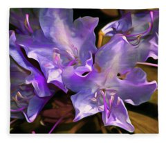 Fleece Blanket featuring the mixed media Rhododendron Glory 17 by Lynda Lehmann