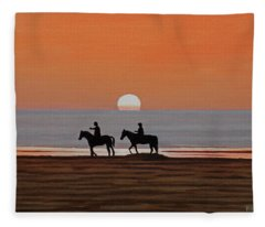 Riding Sunset Beach Fleece Blanket