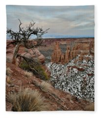 Rim Rock Drive View Of Colorado National Monument Fleece Blanket