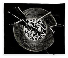 Ring Of Saturn. Calligraphic Abstract Fleece Blanket