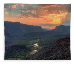 Rio Grande River Sunset Fleece Blanket
