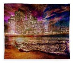 Rising Tide On The Hudson Montage Fleece Blanket