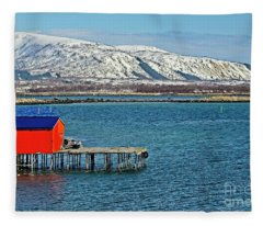 Risoyhamn Boathouse, Norway Fleece Blanket