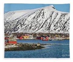Risoyhamn Village, Norway Fleece Blanket