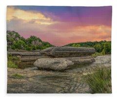 River Erosion At Sunset Fleece Blanket