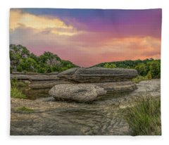 River Erosion At Sunset Fleece Blanket