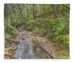 River Flowing Through Pine Quarry Park Fleece Blanket