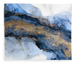 River Of Blue And Gold Abstract Painting Fleece Blanket